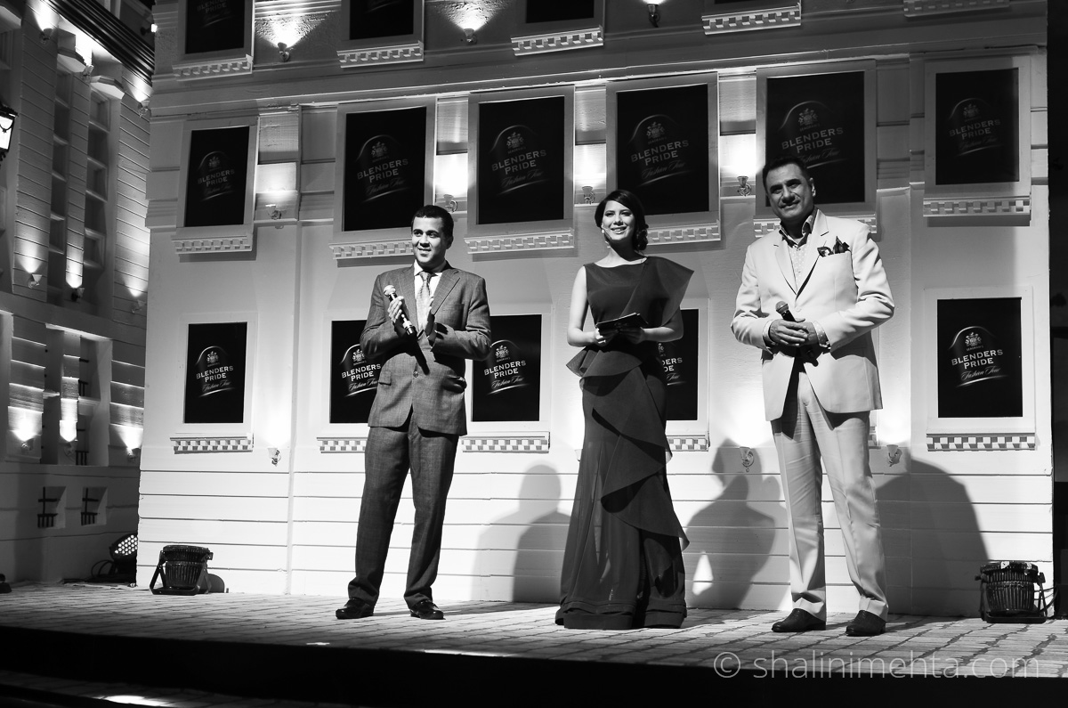 Actor Boman Irani and popular writer Chetan Bhagat as special guests at the Blenders Pride Fashion Tour 2014 preview in Mumbai