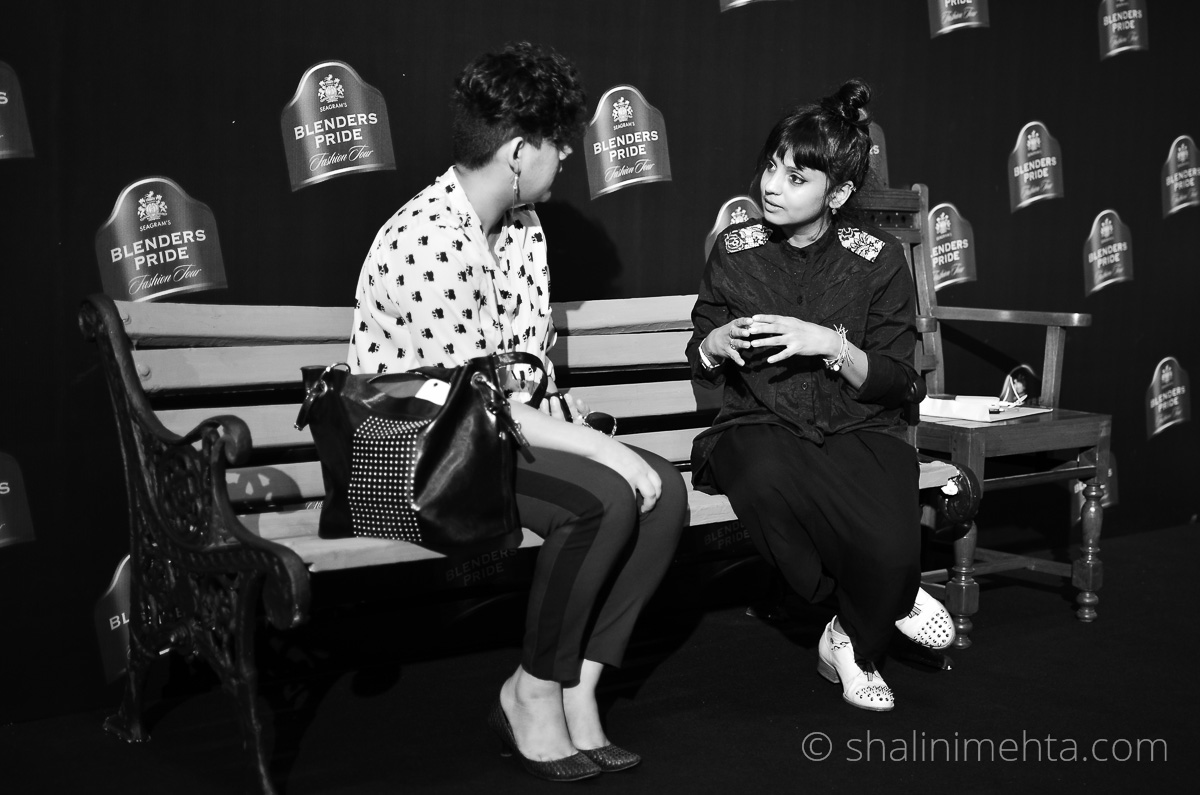 Stylist & Blogger Shalini Mehta in a conversation with designer Little Shilpa at Blenders Pride Fashion Tour 2014 preview