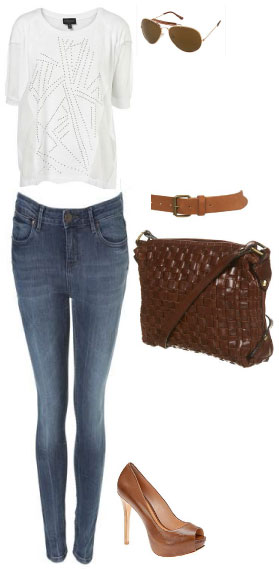 White t-shirt, blue jeans, casual, chic look, casual classic