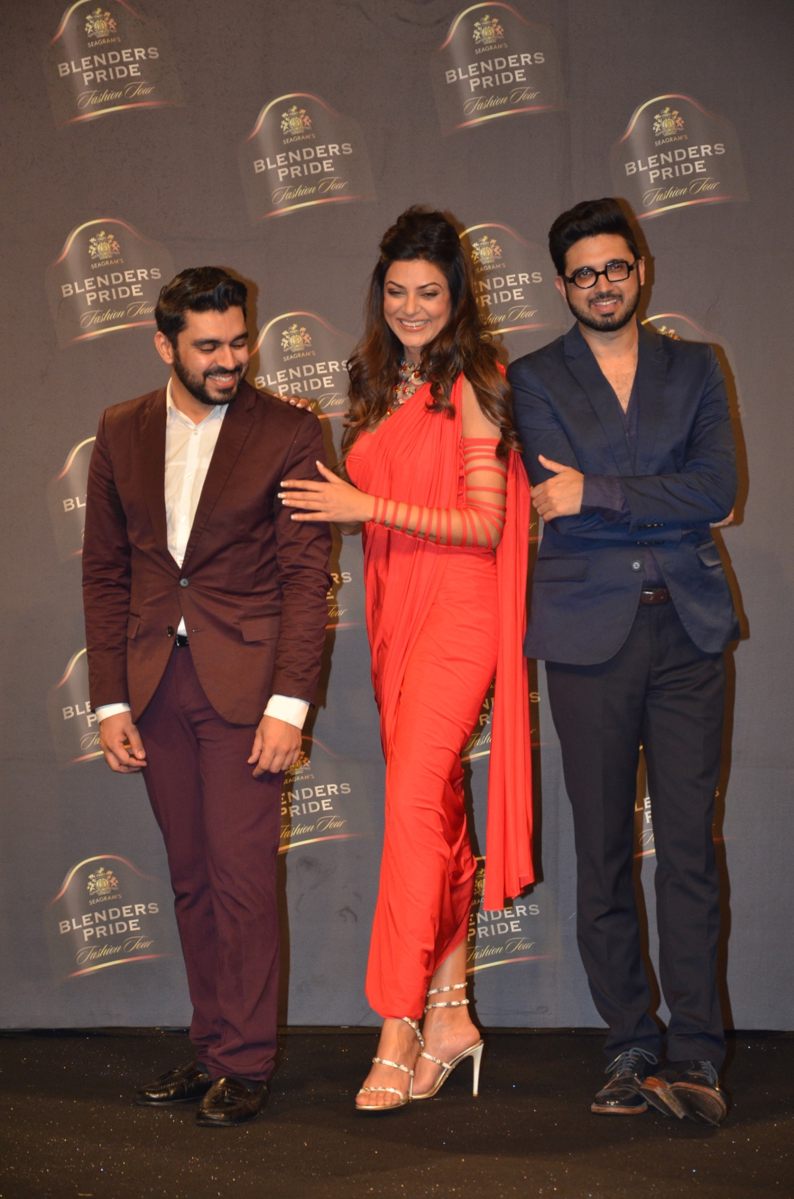 Designers Shivan and Narresh along with Actress and Showstopper Sushmita Sen at the Blenders Pride Fashion Tour 2014 Day 2