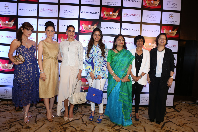 Michelle Poonawalla, Rouble Nagi, Neha Dhupia, Radha Kapoor, Ananya Banerjee, Vaishali Banerjee, Shazia Khan at the Grand Jury Meet of the 11th Annual Gemfields and Nazraana Retail Jeweller India Awards 2015