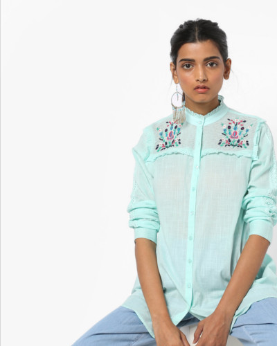 Buy pastel green embroidered shirt with ruffles