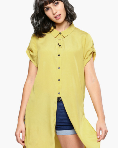 Buy pastel yellow collared shirt for women