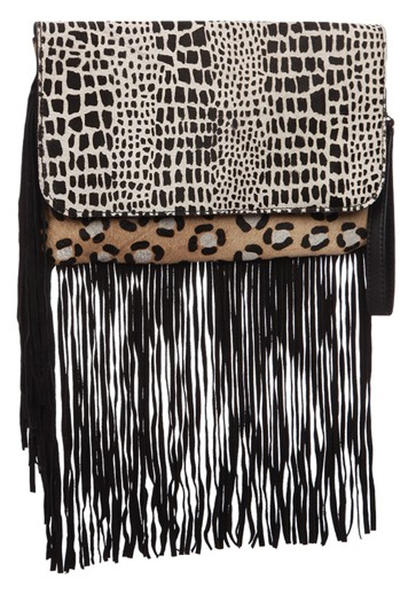 printed fringe bag